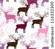 Deer seamless pattern - stock vector