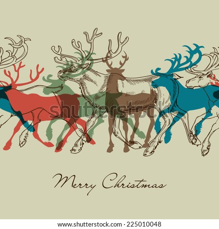 Deer seamless pattern, Christmas decorative background - stock vector
