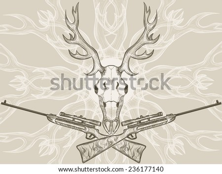 Deer skull and crossed rifles, graphic style - stock vector