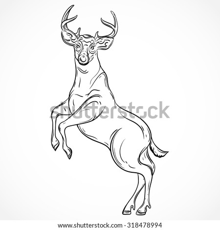 Deer standing on hind legs. Vintage vector hand drawn illustration in sketch style. Tattoo design, retro card, print, t-shirt, postcard, poster. - stock vector