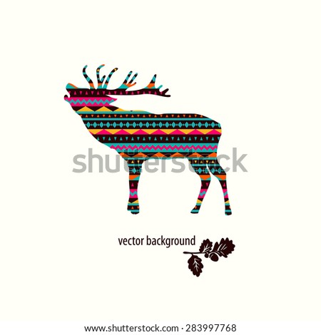 Deer vector badge. Oak branch. - stock vector