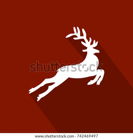 Deer white on a red background with a long shadow