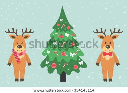 deer with a scarf and tie and fir-tree