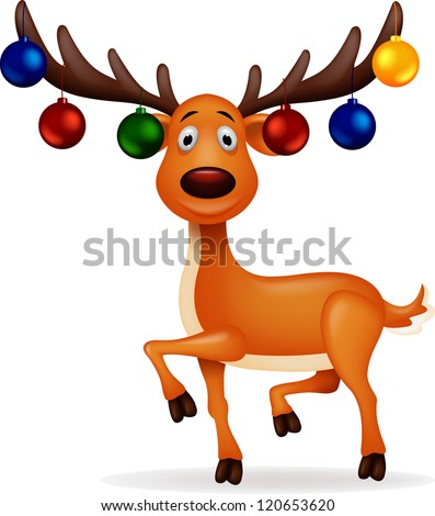 Deer with Christmas ball - stock vector