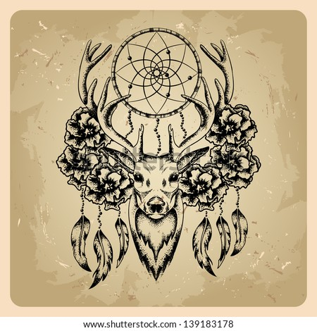Deer with flowers and dream catcher - stock vector