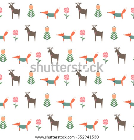 Deer with fox and spring flowers seamless pattern. Cute cartoon nature background. Child drawing style animal illustration. Spring design for textile, wallpaper, fabric