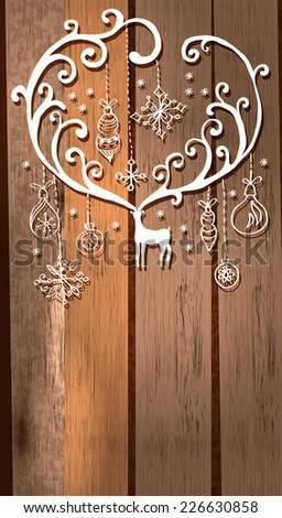 Deer with great horns and decorations for beautiful Holiday design, Christmas and New Year illustration over wooden background, Vector