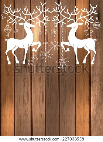 Deer with great horns and decorations for beautiful Holiday design, Christmas and New Year illustration over wooden background, Vector - stock vector