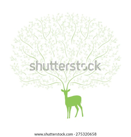 Deer with horns of tree branches. Vector illustration. - stock vector