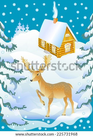 Deer with snowy house. Beautiful winter landscape with reindeer. New Year and Christmas background. Colorful vector illustration. - stock vector