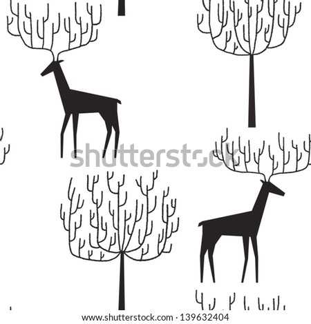 Deers walking among the trees vector seamless pattern - stock vector