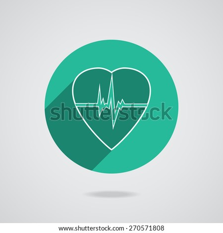 Defibrillator white heart icon isolated on green background. Vector illustration EPS10 - stock vector