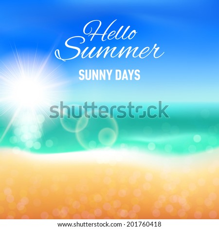 Defocused background with sunny beach for your summer design - stock vector