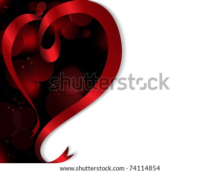 defocused dark background with a red ribbon in the shape of a heart - stock vector