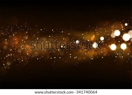 Defocused glitter lights background in dark gold and black colors. - stock vector
