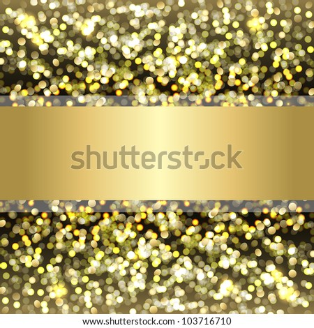 Defocused Gold Background With Bokeh, Vector Illustration - stock vector