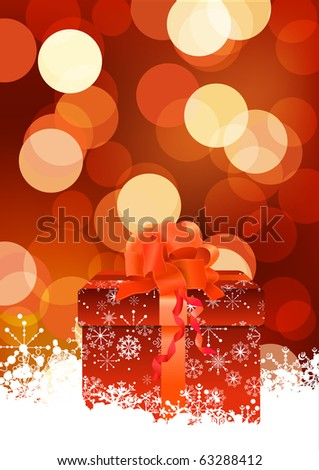 Defocused sparkle christmas background with gift box - stock vector