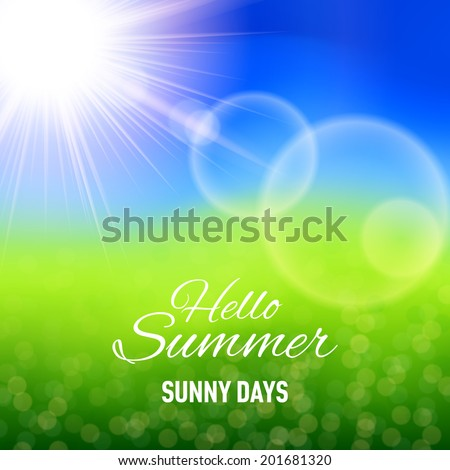 Defocused summer background with glaring sun and lens flare - stock vector