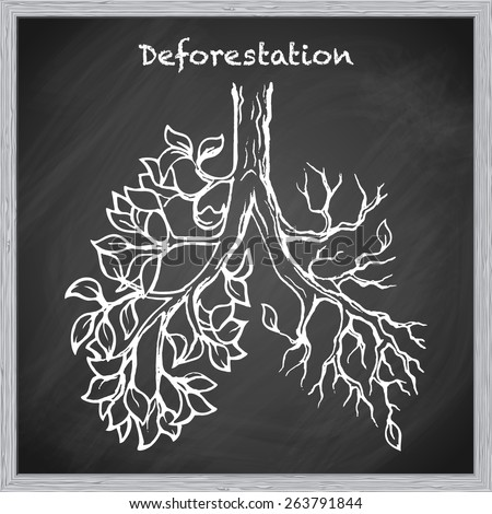 Deforestation is one of the most acute environmental problems. EPS10 vector illustration in a sketchy style imitating scribbling on the blackboard. - stock vector