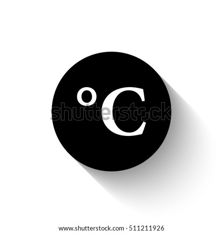 Degrees Celsius White Vector Icon Shadow Stock Vector 511211926
