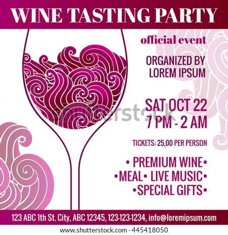 Degustation invitation. Wine tasting party flyer with stylized glass of red wine with swirls inside. EPS 10 vector design concept. - stock vector