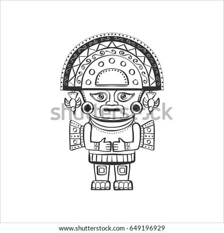 Deity Incas Black White Graphics Isolated Stock Vector Hd Royalty