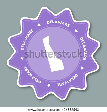 Delaware Map Sticker In Trendy Colors Travel Sticker With Us State Name And Map
