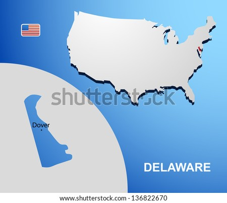 Delaware on USA map with map of the state