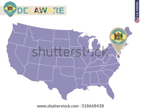Delaware State on USA Map. Delaware flag and map. US States.