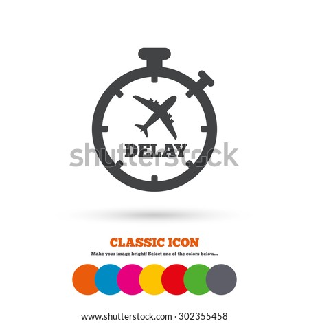 Delayed flight sign icon. Airport delay timer symbol. Airplane icon. Classic flat icon. Colored circles. Vector - stock vector