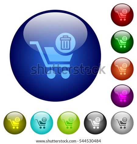 Delete from cart icons on round color glass buttons