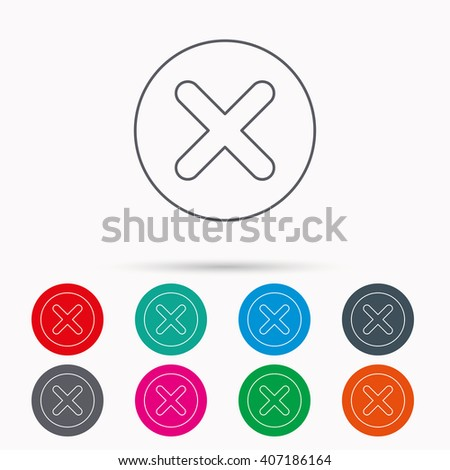 Delete icon. Decline or Remove sign. Cancel symbol. Linear icons in circles on white background. - stock vector
