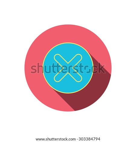 Delete icon. Decline or Remove sign. Cancel symbol. Red flat circle button. Linear icon with shadow. Vector - stock vector