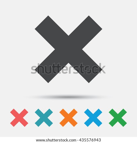 Delete sign icon. Remove button. Graphic element on white background. Colour clean flat remove icons. Vector