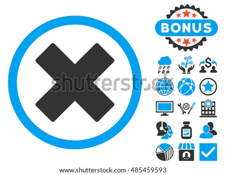 Delete X-Cross icon with bonus images. Vector illustration style is flat iconic bicolor symbols, blue and gray colors, white background.