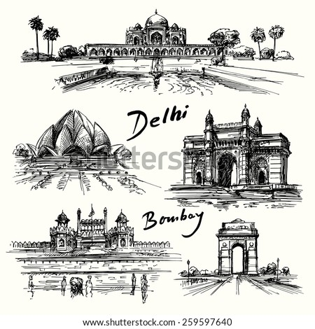 Delhi, Bombay - hand drawn collection - stock vector