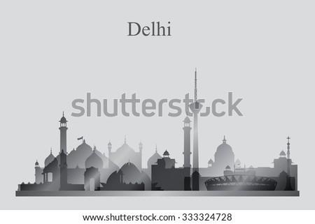 Delhi city skyline silhouette in grayscale, vector illustration - stock vector