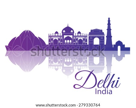 Delhi India. City skyline with reflection - stock vector