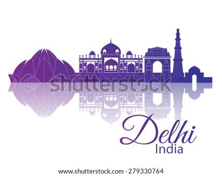 Delhi India. City skyline with reflection - stock vector