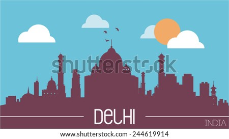 Delhi India skyline silhouette flat design vector illustration - stock vector