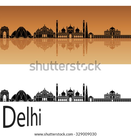 Delhi skyline in orange background in editable vector file - stock vector