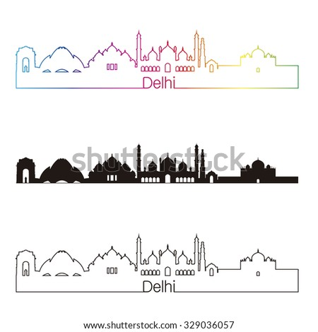 Delhi skyline linear style with rainbow in editable vector file