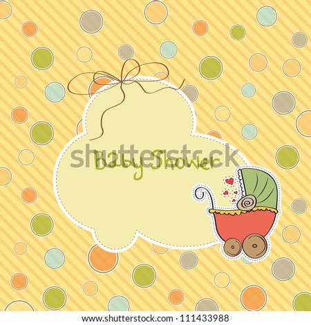 delicate baby shower card with pram - stock vector