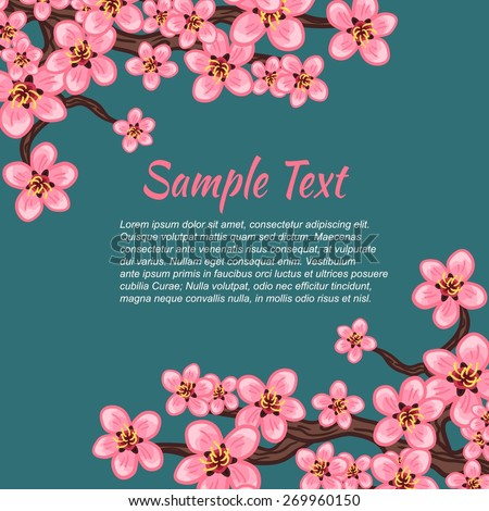 Delicate beautiful branch of sakura pink blooming flowers.Background for greeting card with place for your text - stock vector