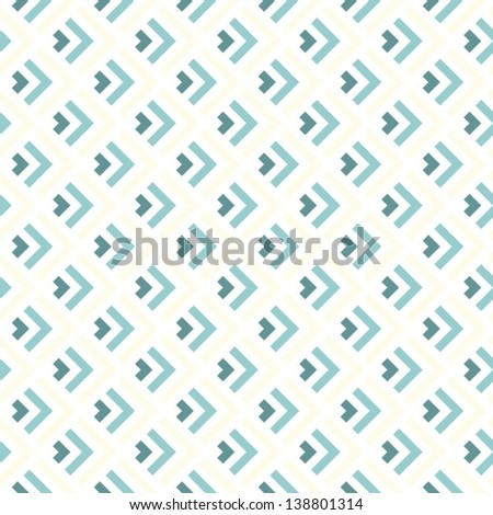delicate blue beige turquoise arrows regular geometric elements in rows on white background seamless pattern - stock vector