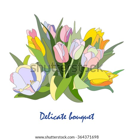 Delicate bouquet of tulips. Delicate bouquet of tulips for greeting cards, invitations, congratulations. wedding invitations. - stock vector