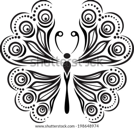 Delicate butterfly silhouette. Drawing of lines and points. - stock vector