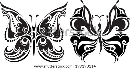 Delicate butterfly silhouette. Drawing of lines and points.Symmetrical image. Options. - stock vector