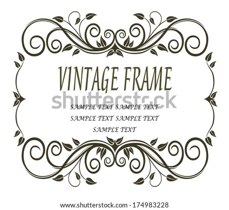 Delicate calligraphic black and white vintage frame with leaves,curlicues and swirls like trailing tendrils of a vine - stock vector