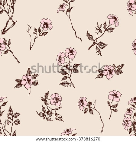 Delicate floral pattern, pink flowers spring background - stock vector